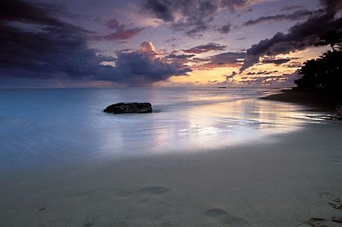 image 1-353-3 Puerto Rico, Rincon, Sunset on beach