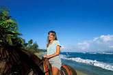 tropical caribbean beach stock photography | Puerto Rico, Isabela, Horseback riding on beach, image id 1-354-2