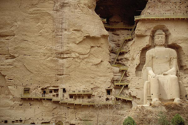 4-132-38 stock photo of China, Gansu Province, Statue of Maitreya Buddha, Bingling-si Grottoes