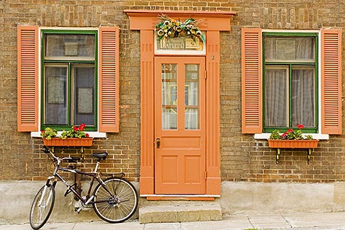 image 5-750-412 Canada, Quebec City, House in Old Quarter, with bicycle