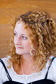 curly hair stock photography | Canada, Quebec City, F�tes de la Nouvelle France, Portrait, image id 5-750-8165