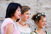 three women only stock photography | Canada, Quebec City, F�tes de la Nouvelle France, Women, image id 5-750-8172