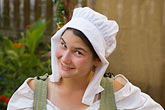horizontal stock photography | Canada, Quebec City, F�tes de la Nouvelle France, Woman in bonnet, image id 5-750-8200