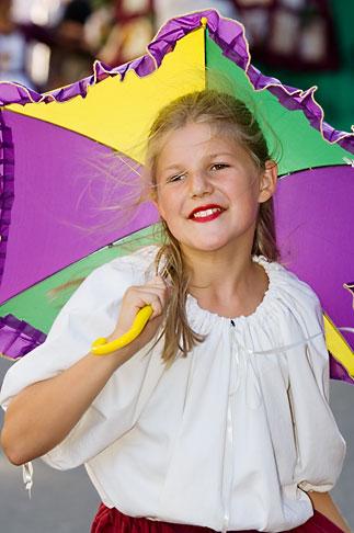image 5-750-8979 Canada, Quebec City, Girl with Parasol, parade