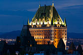 castle stock photography | Canada, Quebec City, Chateau Frontenac at night, image id 5-750-9859