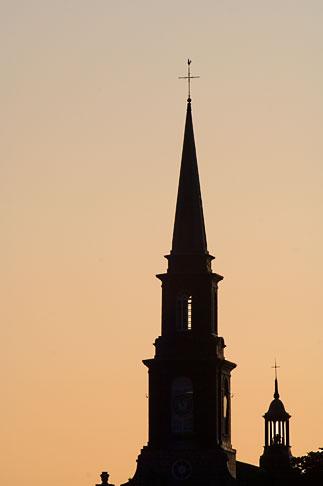 image 5-750-9895 Canada, Quebec City, Levis, Church steeple at sunrise