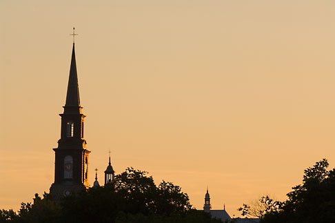 image 5-750-9930 Canada, Quebec City, Levis, Church steeple at sunrise