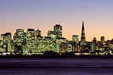 illuminated stock photography | California, San Francisco Bay, San Francisco skyline from Treasure Island, image id 2-240-10