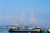 three masted stock photography | California, San Francisco, San Francisco Maritime National Historical Park, clipper ship Balclutha, image id 3-1012-77
