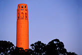 illuminated stock photography | California, San Francisco, Coit Tower at sunset, image id 3-1014-40