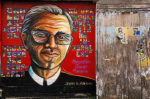 image 3-1014-96 California, San Francisco, Balmy Alley, Monsenor Oscar Romero, copyright 1996, Juana Alicia