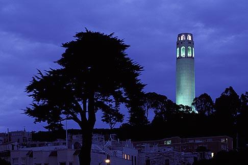 image 4-516-26 California, San Francisco, Coit Tower at night