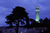 blue sky stock photography | California, San Francisco, Coit Tower at night, image id 4-516-26