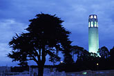 blue sky stock photography | California, San Francisco, Coit Tower at night from Washington Square, image id 4-516-29