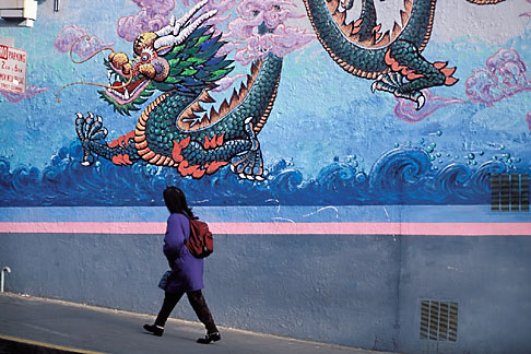 image 8-223-41 California, San Francisco, Dragon mural, Chinatown
