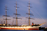 three masted stock photography | California, San Francisco, San Francisco Maritime National Historical Park, clipper ship Balclutha, image id 9-12-2