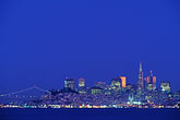 twilight stock photography | California, San Francisco, Downtown skyline at night, image id 9-168-47