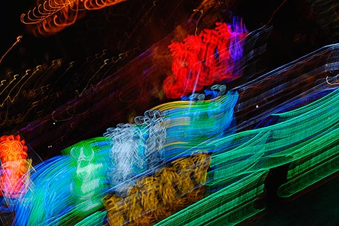 image 7-620-3055 China, Shanghai, Neon lights at night, Pudong