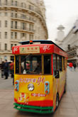 trolleycar stock photography | China, Shanghai, Nanjing Road, Pedestrian shopping street, tourist trolley, image id 7-620-3207