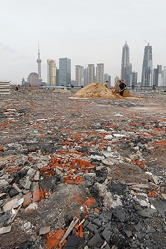 image 7-620-3528 China, Shanghai, Empty lot with Pudong skyline