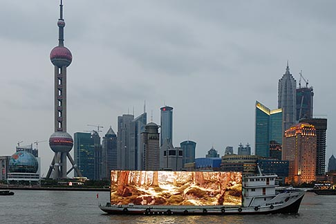 image 7-620-3555 China, Shanghai, Pudong skyline with Hunagpu riverboat