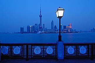 7-620-4173  stock photo of China, Shanghai, Pudong skyline and the Bund Promenade at night