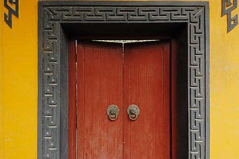 image 7-620-4889 China, Shanghai, Longhua Temple, painted door