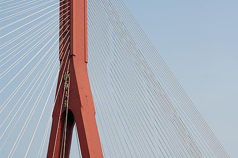 image 7-620-9248 China, Shanghai, Yangpu Bridge, cable stayed bridge across the Huangpu River
