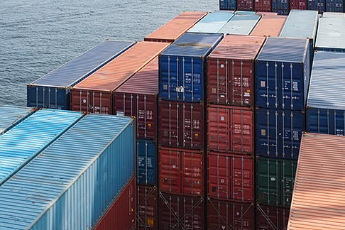 image 7-675-3823 Shipping, Containers stacked in cargo hold