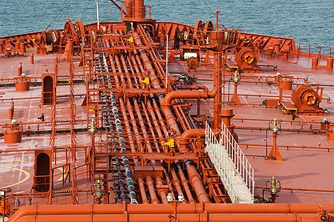 image 7-677-4842 Shipping, Deck of oil tanker, pipes and valves