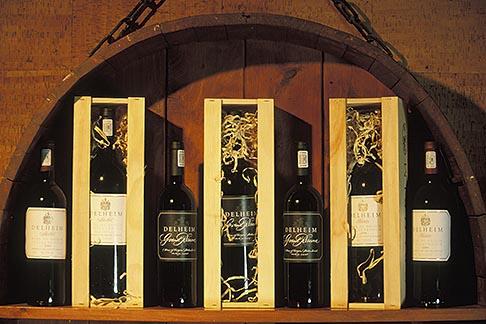 image 1-410-92 South Africa, Stellenbosch, Wine bottles in cellar, Delheim Winery