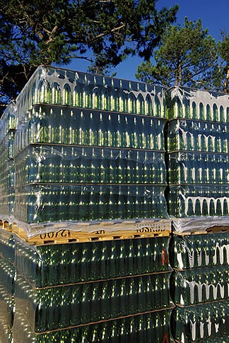 image 1-419-22 South Africa, Helderberg, Pallet of bottles, Vergelegen Wine Estate