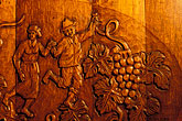 grape stock photography | South Africa, Stellenbosch, Wine barrel carving, image id 1-421-57