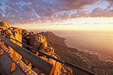 orange light stock photography | South Africa, Cape Town, Table Mountain summit at dusk, image id 1-425-35