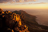 orange light stock photography | South Africa, Cape Town, Table Mountain summit at dusk, image id 1-425-36