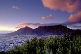 nature stock photography | South Africa, Cape Town, Table Mountain and city at dawn from Lion