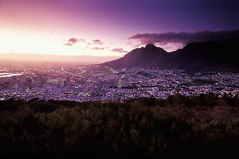 image 5-469-43 South Africa, Cape Town, Table Mountain and city at dawn