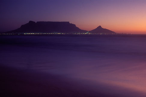 image 5-475-17 South Africa, Western Cape, Table Mountain at dusk from Bloubergstrand