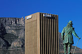 downtown stock photography | South Africa, Cape Town, Statue of Jan van Riebeeck, with Table Mountain, image id 5-491-29