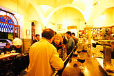 nourishment stock photography | Spain, Seville, Restaurant at night, Cerveceria Giraldo, image id 1-250-17