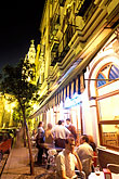 sidewalk cafe stock photography | Spain, Seville, Restaurant at night, Cerveceria Giraldo, image id 1-250-53