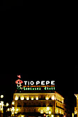 night stock photography | Spain, Madrid, Puerta Del Sol, Tio Pepe Sign, image id S4-545-495