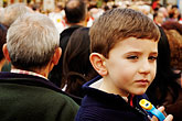 happy stock photography | Spain, Madrid, Young boy in crowd, image id S4-545-673