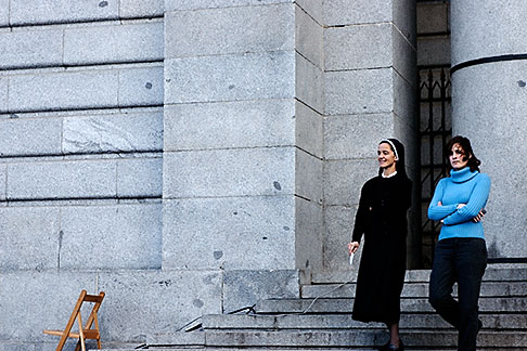 image S4-545-864 Spain, Madrid, Nun and woman leaving a church