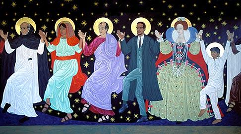 image 2-454-48 California, San Francisco, Dancing saints icon  St Gregory Nyssen Episcopal Church