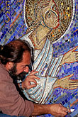 facial hair stock photography | California, San Francisco, Mosaicist, Felix Boukh at work, St. Gregory Nyssen Episcopal Church, image id 3-328-30