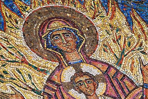 image 5-820-3259 Religous Art, Mosaic of Mary and Jesus