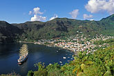 high angle view stock photography | St. Lucia, Soufri�re, Royal Clipper sailing ship in Soufri�re Bay, image id 3-620-67