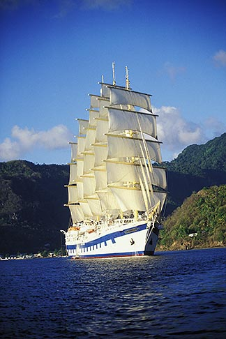 image 3-621-35 St Lucia, Soufriere, Royal Clipper sailing ship in Soufriere Bay