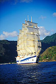 cruise ships in harbor stock photography | St. Lucia, Soufri�re, Royal Clipper sailing ship in Soufri�re Bay, image id 3-621-35